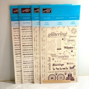 NWT Stampin Up! Rub-Ons word flurries & chat room